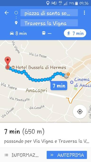 distanza a piedi  tra casina mirella ed il centro storico di anacapri