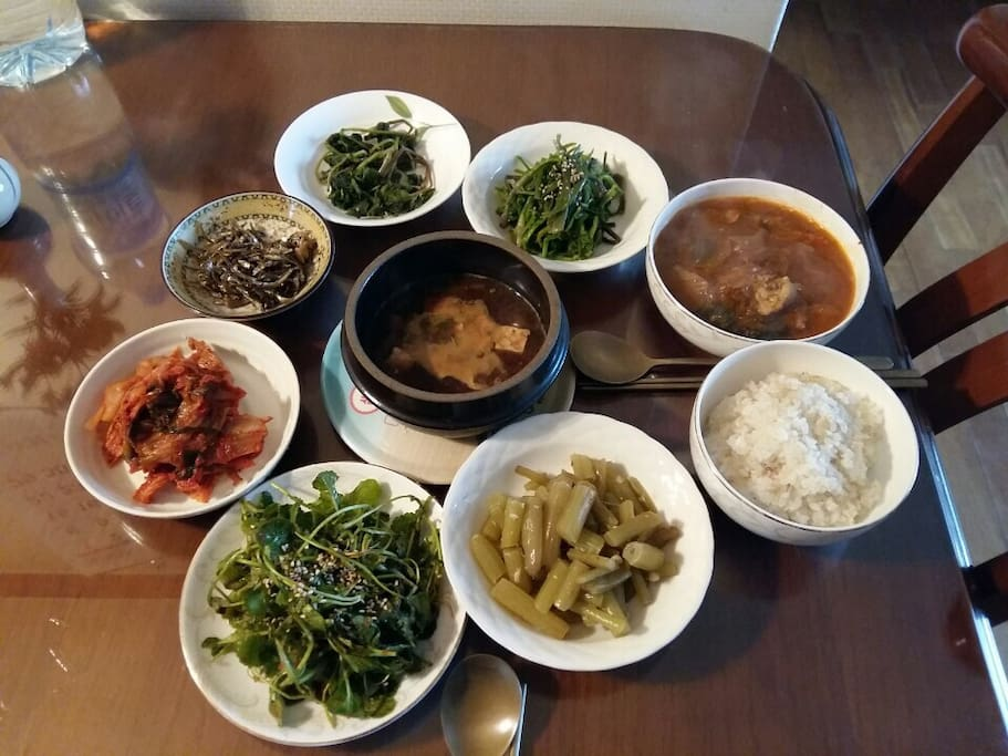 Traditional Korean style breakfast available from mommy chef