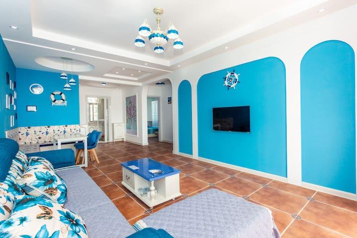 地中海风格两室两厅110平纯海景家庭套房