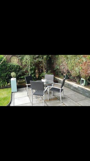 Very private patio area in a sunny spot.