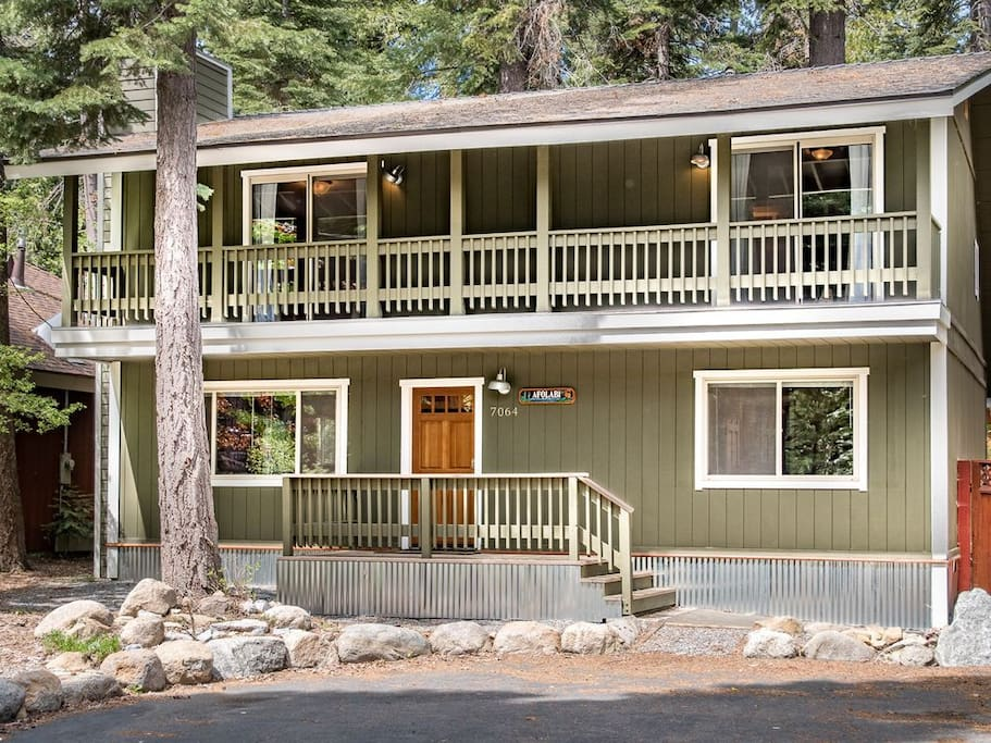 Access an upper level deck from the master and guest bedrooms.
