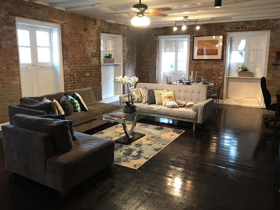 Here is my Beautiful , Historic 2Bd 1B FQ Home . The master room has 1 queen size bed,my guest bedroom has 2 queen beds and futon couch. I have one sectional couch & a futon couch. I  have 2 queen size air mattresses available . I'd love to have you guys as  guest.My place has:cable,wi fii, firestick and free beer.I also have a full service kitchen filled with: a fully stocked coffee bar,pot, pans, cooking utensils, spoons, forks , plates Etc . Thank you for taking interest in my home.