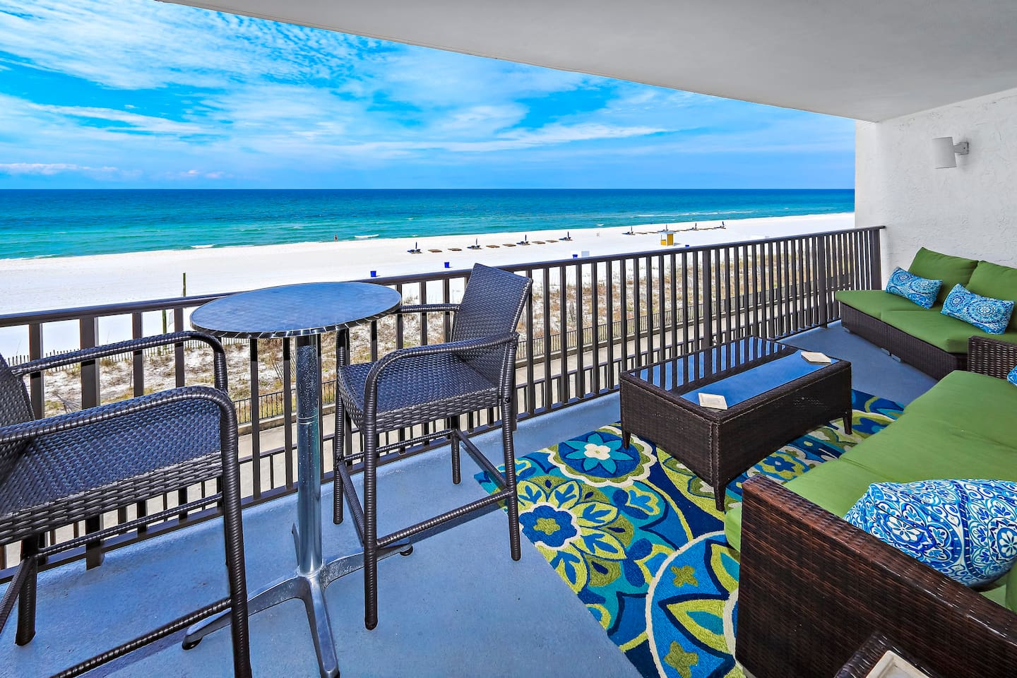 WOW!!!!! Your balcony is furnished with Sunbrella couches and high top bistro seating. Enjoy sweeping unobstructed views while hearing the crash of the ocean waves. A coffee table with extra end tables for drinks, appetizers or just your feet. Plenty of seating for 7 on the balcony. You'll never want to leave. Heaven!