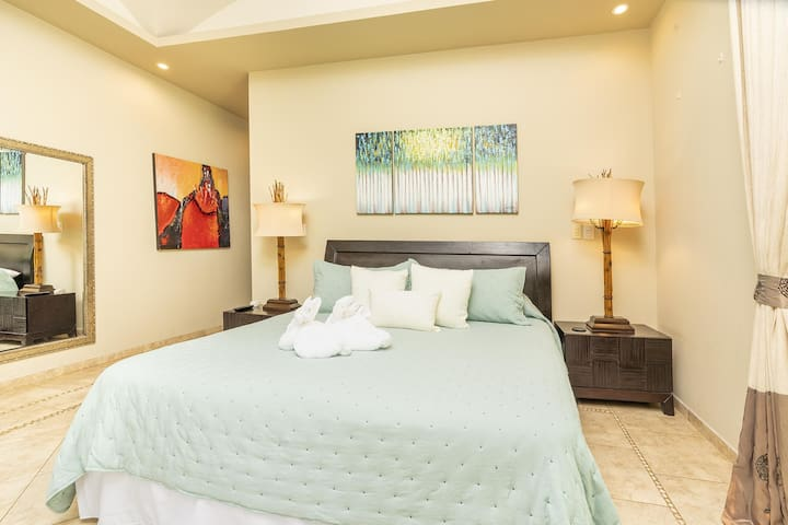 Master bedroom, King bed, private bathroom, access to terraces