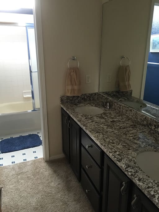 This is the shared bathroom with your own separate sink.  The other person sharing this bathroom is only here 3/4 time and is hardly ever home.
