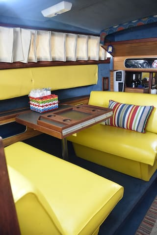The banquette for eating or working