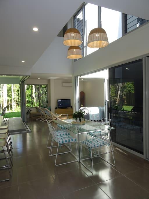 Open-plan living areas connect indoor & outdoor spaces