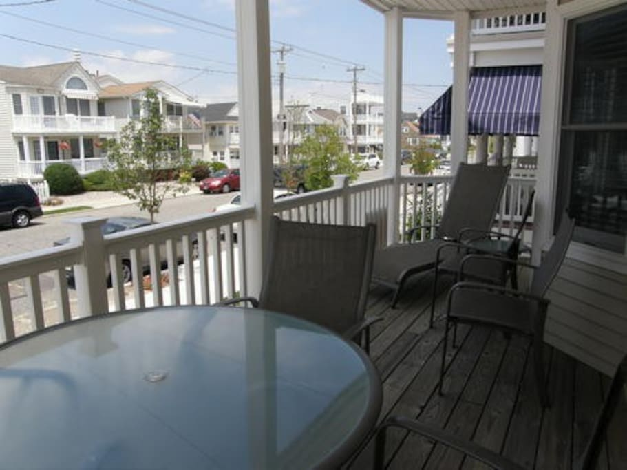 The front deck overlooks Asbury Avenue