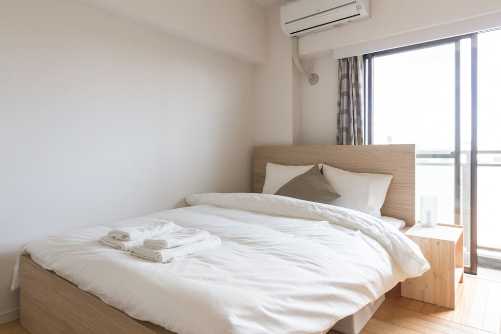 Double bed in the apartment