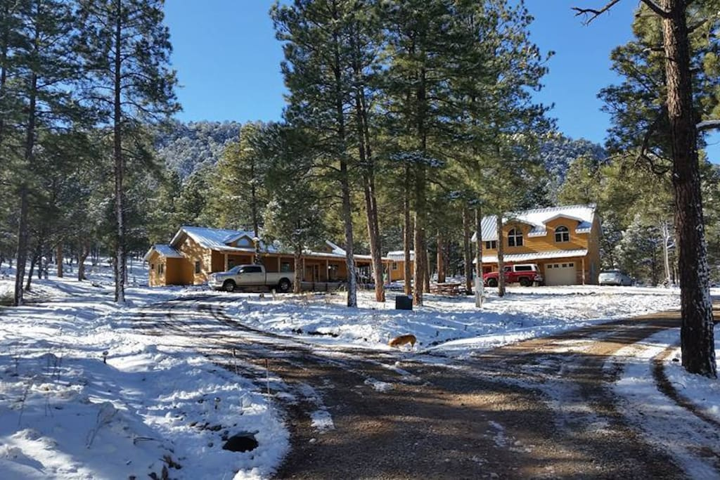 A view of the property on a beautiful snowy day!