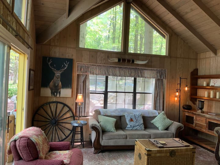 Rustic Cottage w King bed Split Rock Lake Harmony.