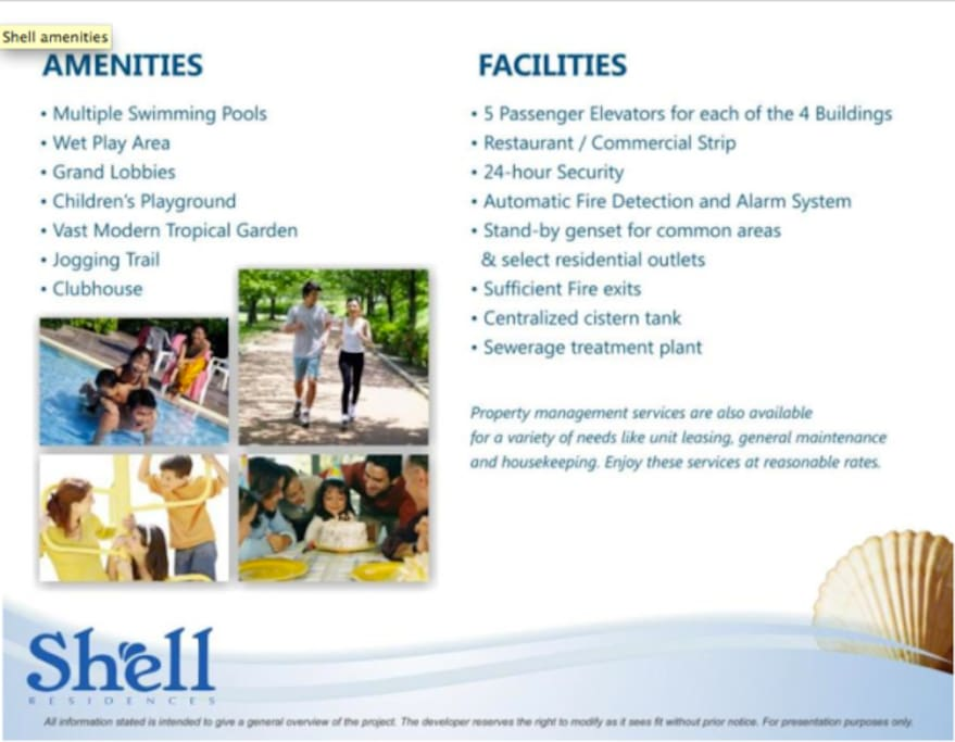 Amenities and facilities
