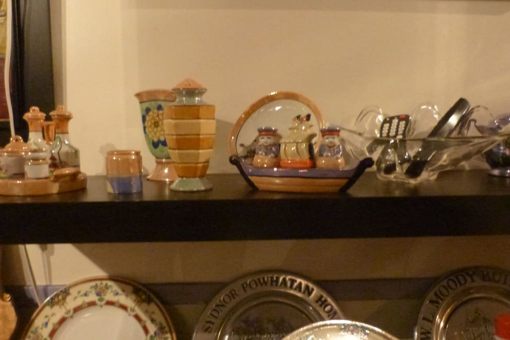 The house is furnished in period antiques with collections from the same era. This collection of Lustreware dates from 1910 to 1930.