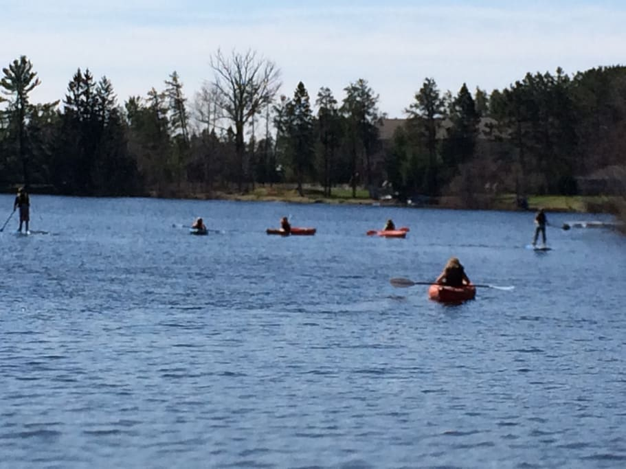 5 kayaks, 2 paddle boats, 2 canoes and a 16' row boat for use.