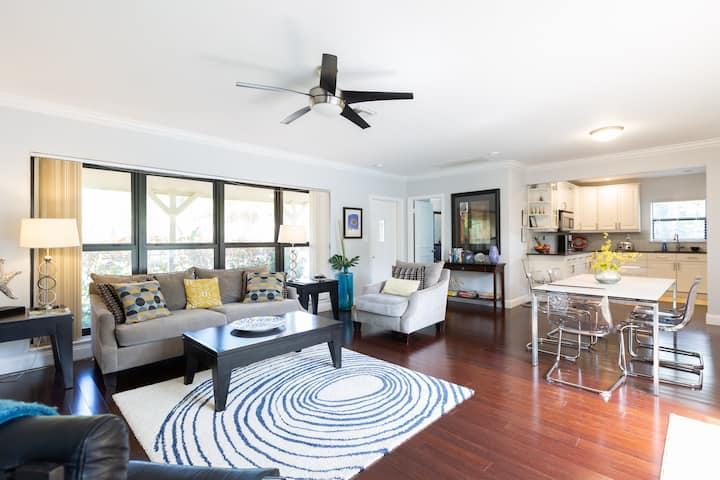 Walk to Lovely Beach from this Quiet Pool Home!