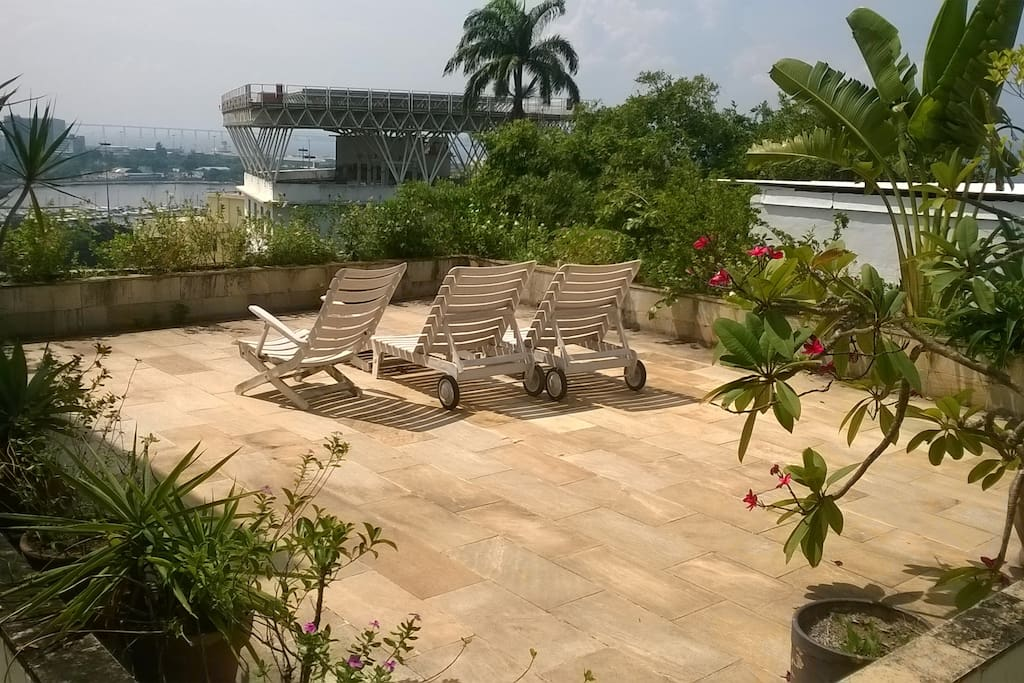 Terrace for relaxing and sunbathing with fine view over Guanabara Bay.
