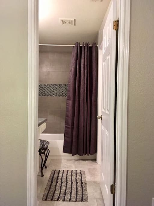 Private master bathroom with custom shower