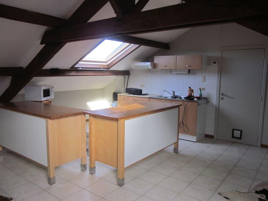 open keuken met toestellen