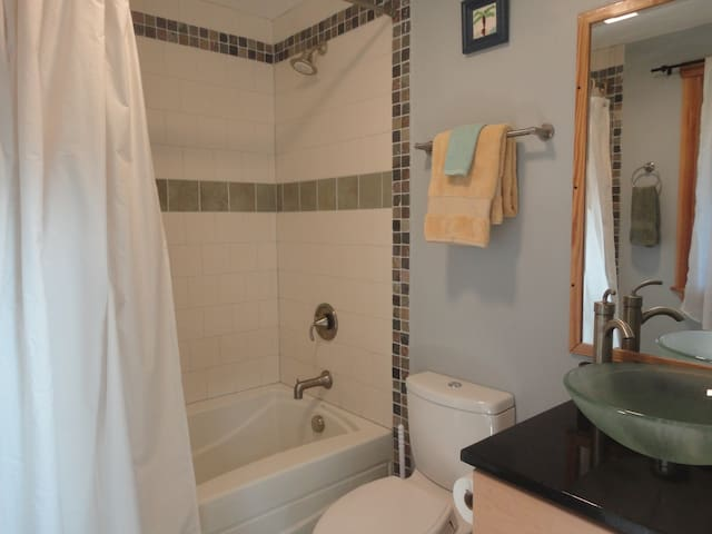 Full bath with 6 foot tub and dual flush eco friendly toilet