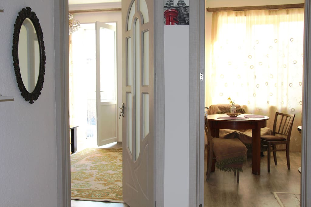 When you enter main door you see kitchen and living/bedroom entrance.