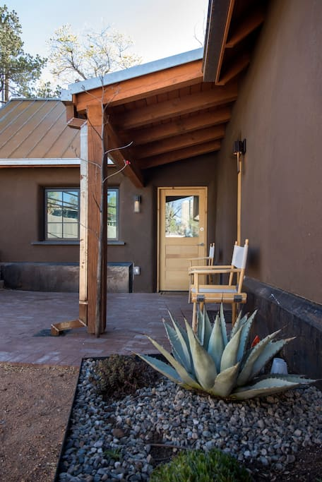 """Front Door - in entry shared patio - Real clay plaster over 125 year old """"double"""" adobe walls"""