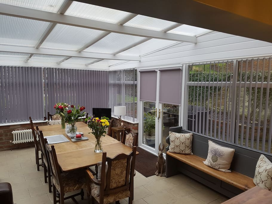 Our dining area with garden views