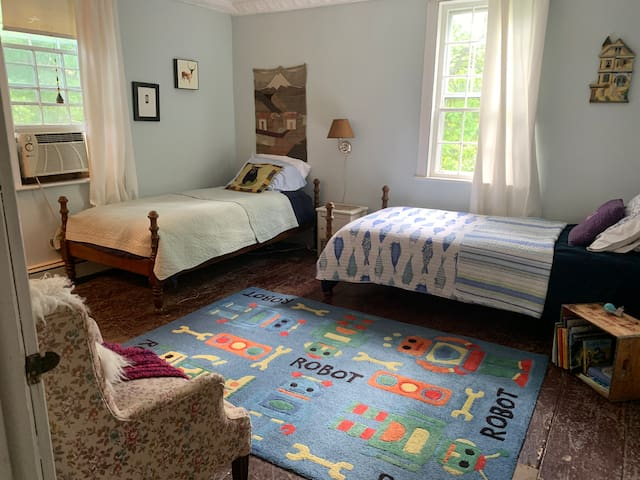 Kids room, 2x twin beds. Beautiful view of the hillside. Kids books, miscellaneous toys in main closet. Toddler cot and 2 pack n plays in 2nd closet.
