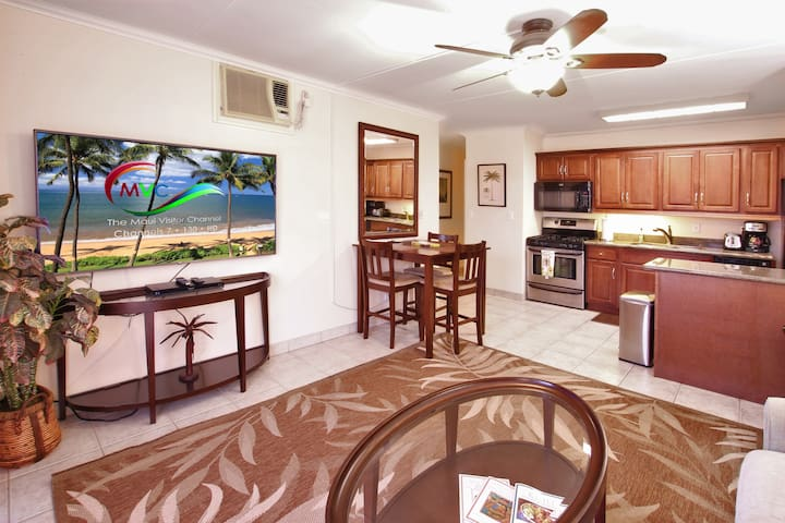 Cozy living room includes air conditioning, big screen TV, a dinette set and pull-out couch