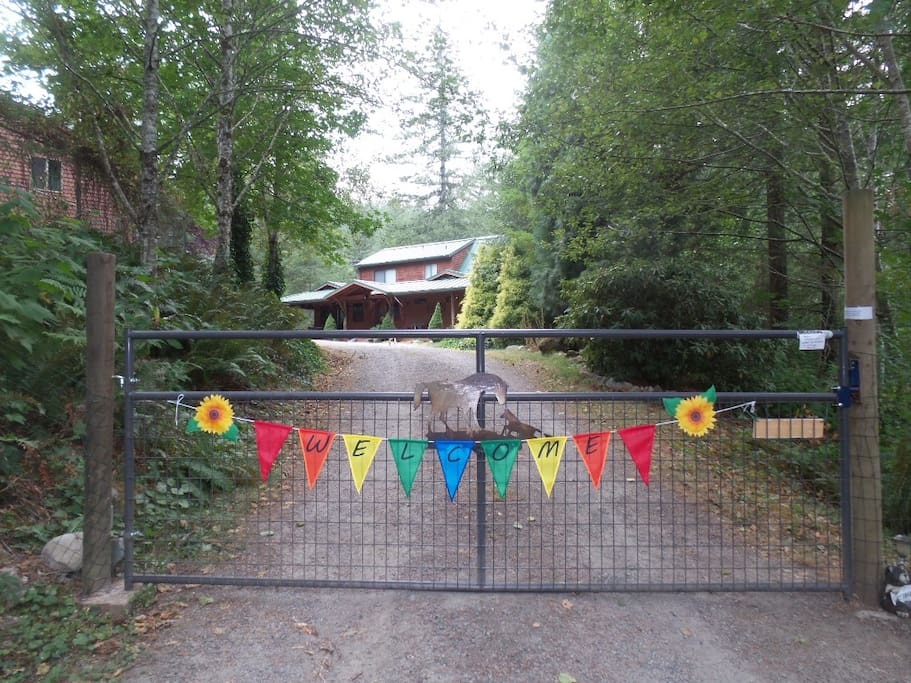 Entrance to the property: The High Lonesome. Host's house is on the right, Guest House on the left.