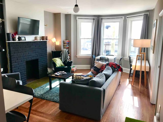 Modern cozy city-view apt above coffee/craft beer!