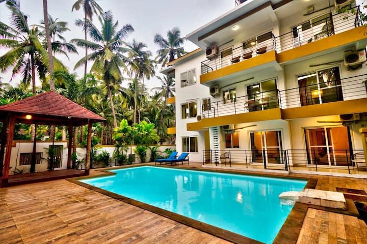 Pool facing 1 bedroom Apartment in Arpora/ Baga