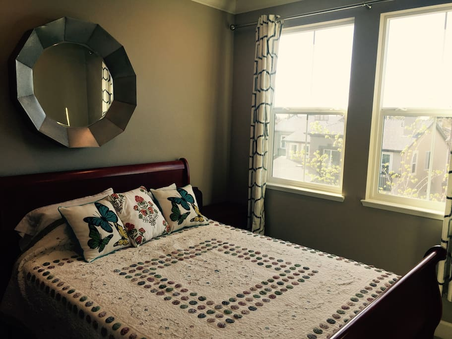 Guest Bedroom with Curtains Open