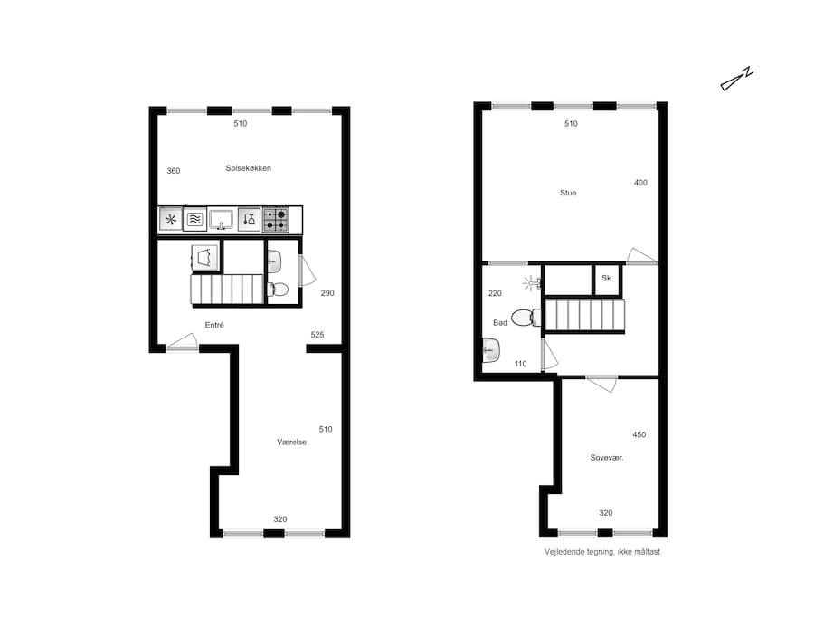 Floorplan, city house in two levels