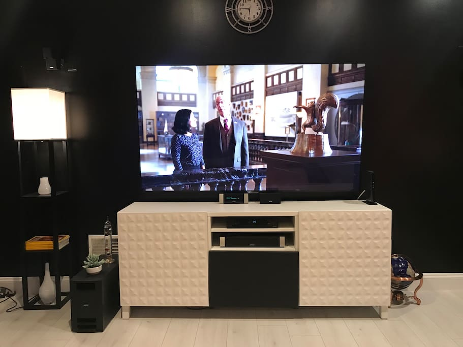 """75"""" HD wall mounted flat screen SONY TV w/ 5.1 Bose Surrounded Sound"""
