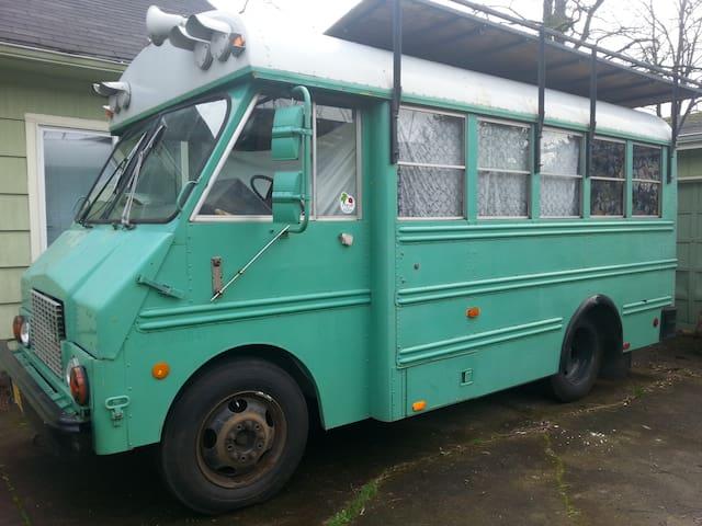 Cozy, vintage Bohemian bus