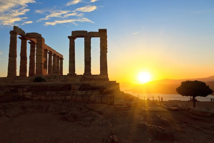 Sunset At Temple Of Poseidon