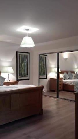 Large room solid oak furniture, large wardrobe, refrigerator, iron & iron board