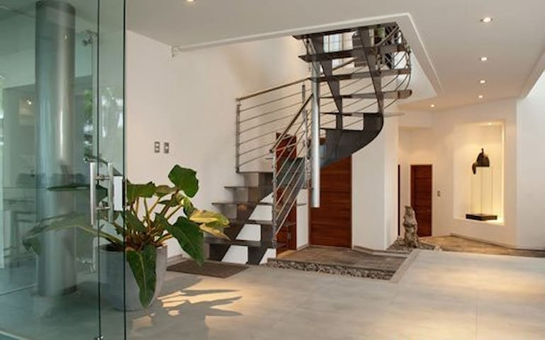 State of the art solid steel staircase, specially crafted for this house.