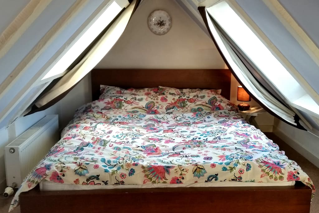 The bedroom's in the cute wee attic space.....