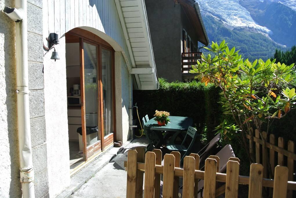 La terrasse vue sur les glaciers