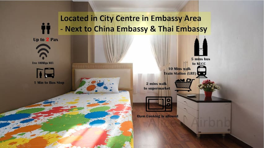 Comfy Room 5 mins KLCC | Intermark | Thai Embassy