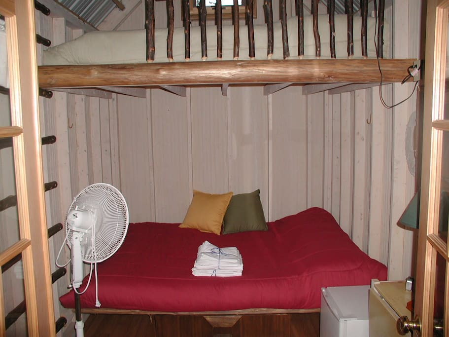 Each cabin has a mini-refrigerator, 2 queen bunk beds, and 2 twin bunk beds.