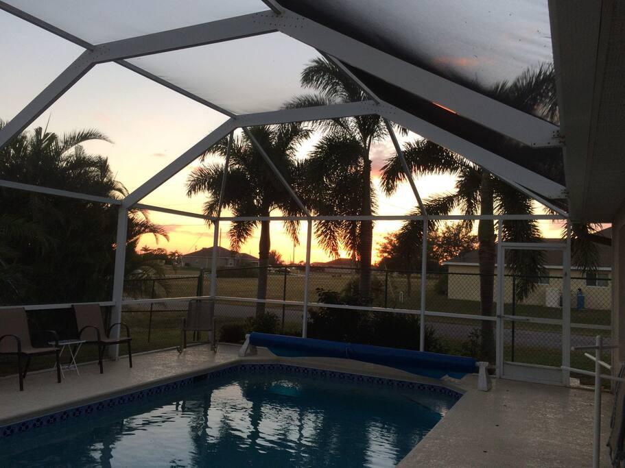 My pool at twilight--pool is heated