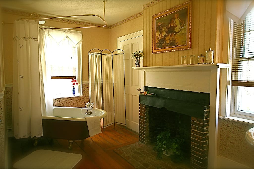 Claw-foot tub & shower, with private fireplace #2.