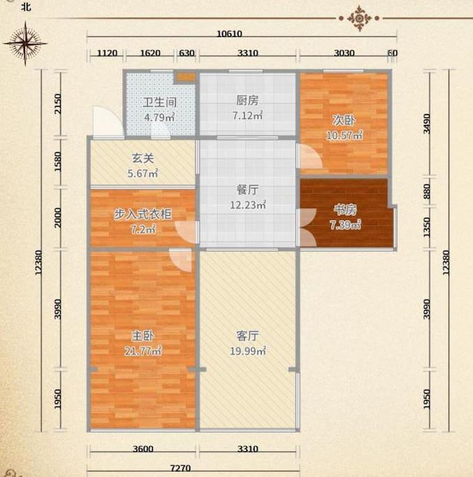 房间户型图。本房源为套内10.57平米次卧。共享厨房、餐厅、客厅、卫生间、玄关以及部分步入式衣帽间。