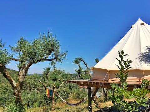 Big Belltent in the olive trees