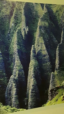 Napali Coast... can only be seen by helicopter or a boat tour