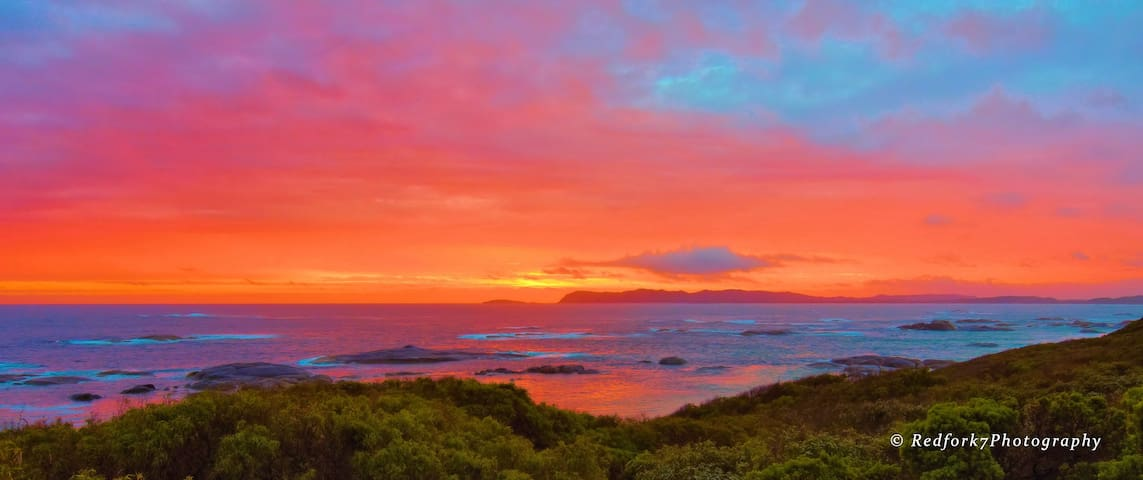Sunset at William Bay National Park.  A swim at Greens Pool and hike to Elephants Rock is highly recommended during your stay.