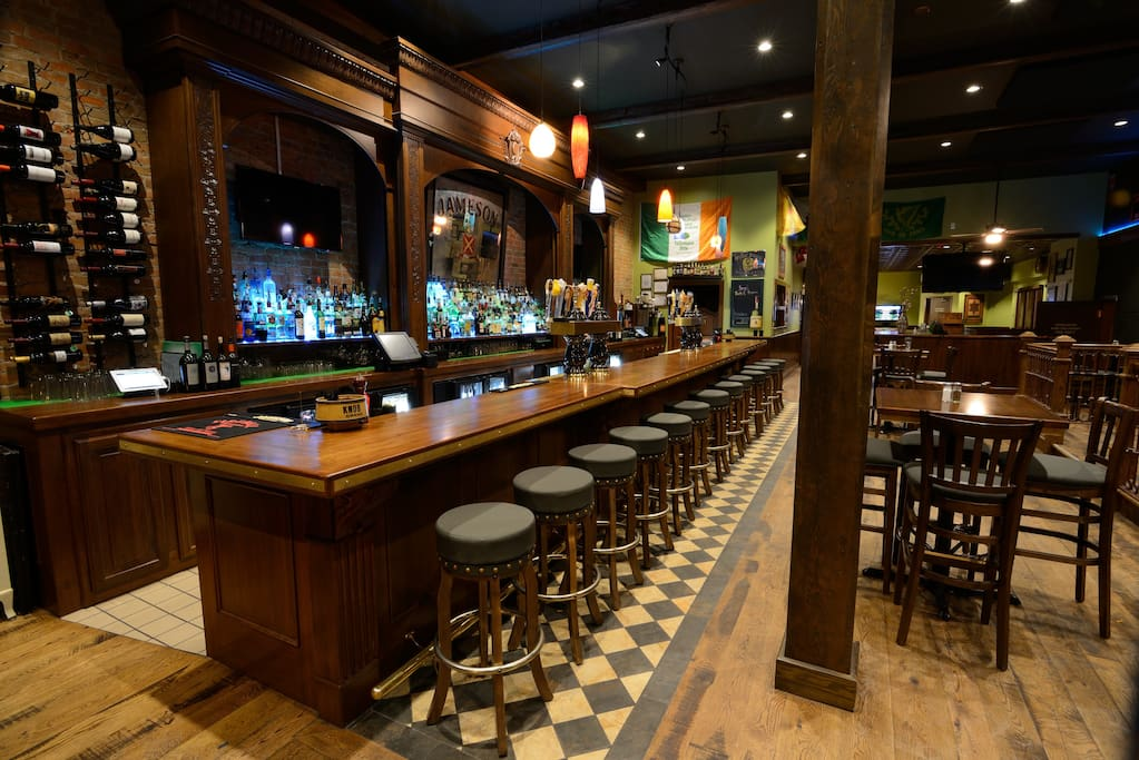 The pub downstairs, full bar, 24 draft beers, lunch, dinner, late night food.
