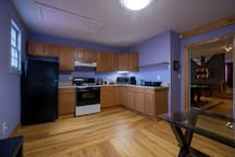 Full kitchen,m microwave, oven and gas stove. All utensils, cookware plates, glasses and spices provided